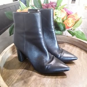Marc Fisher | Pointy Toe Black Leather Ankle Boots